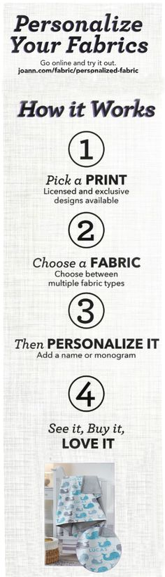 Personalization is digitally printed personalized fabric. You pick your print, you pick your fabric and then you can personalize it with a name, phrase or monogram.