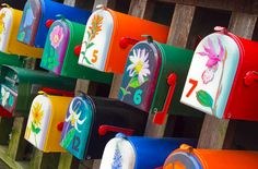 cute colors...love painted mailboxes.