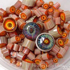 Wild Eye Murrini, 104coe silver glass - purple blue orange yellow lampwork art glass - GBUK SRA