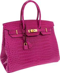 Hermès Horseshoe One of a Kind 35cm Shiny Rose Scheherazade Porosus Crocodile Birkin Bag with Rose Tyrien Interior