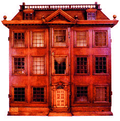Manwaring Dolls' House An early Georgian house with a walled garden and a collection of to paintings. Museum of Farnham, Surrey Small Mansion, China Storage, Georgian Architecture, Cute Little Dogs, Bologna Italy, Toy House, Georgian Homes, B 13, English House
