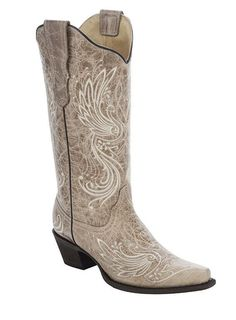 Corral Women's Bone Beige Embroidery Cowgirl Boots - HeadWest Outfitters