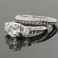 His & Hers 3 pcs Womens STERLING SILVER & Mens TITANIUM Wedding rings set bridal