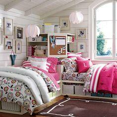 Cottage Stripes :) | PBteen #cotton #bedding #pink