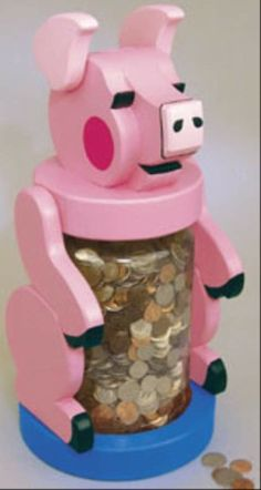 19-W3293 - Piggy Jumbo Coin Bank Woodworking Plan