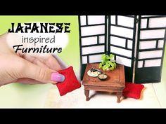 Japanese Inspired Miniature Furniture Tutorial // Dolls/Dollhouse - YouTube