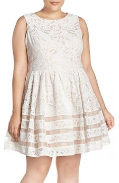 Eliza J Shadow Stripe Lace Fit & Flare Party Dress (Plus Size)