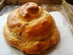 Honey Wheat Raisin Challah: Honey Wheat Raisin Challah, shaped in a spiral for Rosh Hashana
