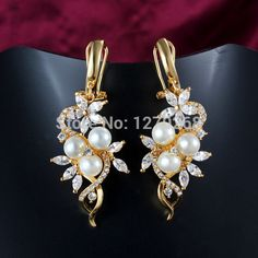 Popular new design 18K gold plated pearl & zircon flower drop earrings pretty cute fashion party jewelry gift Jmiya brand-in Drop Earrings from Jewelry on Aliexpress.com | Alibaba Group