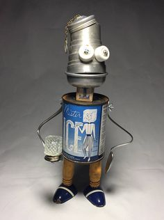 One Cool Tin Assemblage Art Robot Sculpture