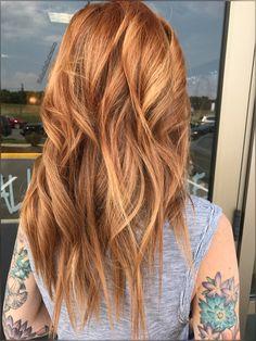 Balayage red hair and blonde