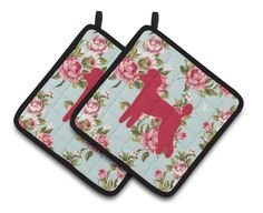 Poodle Shabby Chic Blue Roses Pair of Pot Holders BB1114-RS-BU-PTHD