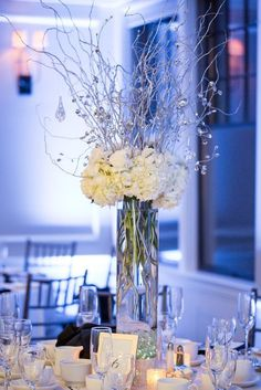 Nicole Lopez Photography; Elegant winter ballroom wedding reception centerpiece