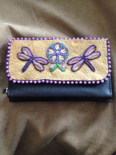 Purple Dragonfly and Purple Flower Wallet by Alaska Beadwork.