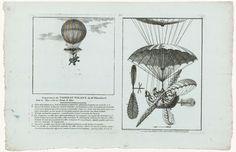 Rivière | De luchtballon van Mr. Blanchard, Rivière, Bignon, 1784 | Een afbeelding van de luchtballon met valscherm en schuitje eronder die een experimentele vlucht maakte op 17 maart 1784 boven het Champ de Mars te Parijs. Ernaast een afbeelding van alleen het schuitje met beweegbare vleugels. De onderdelen zijn genummerd en worden verklaard in de uitleg naast de afbeelding.