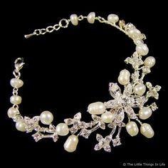 Florence Pearl Wedding Bracelet (Silver/Ivory) - Photo 1