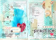 Art journal page: love the colors (aqua, yellow, red), triangles, washi tape and stamps.