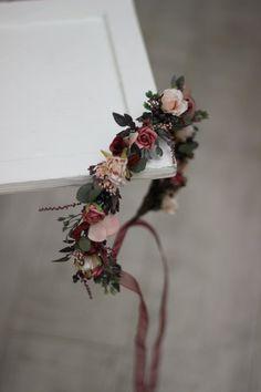 Flower girl crown Burgundy pink beige floral crown Burgundy wedding Bridal hairpiece Deep red headband Bridesmaid crown Maternity - MARIA - g a r d e n s - Girls Crown, Flower Girl Crown, Flower Girl Headbands, Flower Crown Wedding, Bridal Crown, Bridal Flowers, Flowers In Hair, Floral Wedding, Red Headband