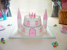 Fondant Castle Cake For a Princess; rock textured castle walls, wood textured doors and windows, wood shingle roof (made from fondant strips wrapped around sugar cone and detailed by cutting in shingles) candy pearl trim, and pearl dust detail