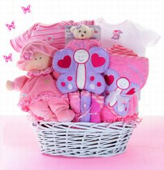Baby Shower Gifts - Baby Butterfly Kisses Hofmann is this what Mel is talking about? Theme Baskets, Themed Gift Baskets, Baby Girl Gift Baskets, Baby Girl Gifts, Homemade Gift Baskets, Homemade Gifts, Butterfly Baby, Butterfly Kisses, Butterflies