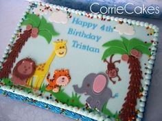 - sheet iced in BC with MMF decorations- design based off a party invite I… Safari Birthday Cakes, Jungle Theme Cakes, Birthday Sheet Cakes, Jungle Theme Birthday, Safari Cakes, Elephant Birthday, First Birthday Cakes, Baby Birthday, Safari Theme