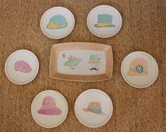 platos y fuente pintadas a mano