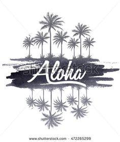 Watercolor Aloha typography for t-shirt print , vector illustration