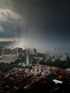 Rain over Singapore - Love how you can see the rain coming!