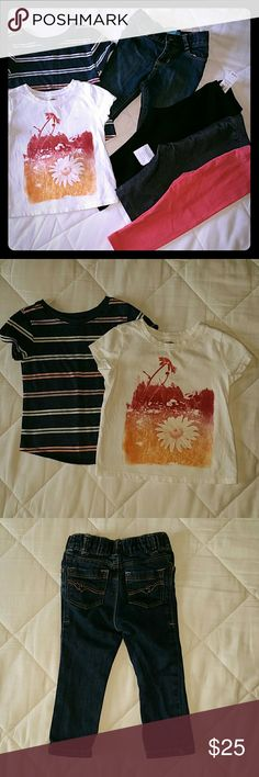 *UPDATED*Girls Old Navy Bundle~size 18-24 mos 6 great basics from Old Navy in size 18-24 months.  This bundle includes: 2?short-sleeved t-shirts EUC 1?skinny jeans w/adjustable waist EUC 2?full length leggings --BLACK NWT --PINK GUC 1?cropped jeggings GUC Old Navy Bottoms