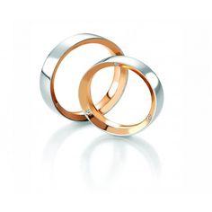 Alliance duo 2 ors en or blanc et or rose pour couple, belle alliance de mariage ou bague de fiançailles à prix abordable du créateur Breuning. L'alliance femme avec diamants. http://www.alliancepassion.com/