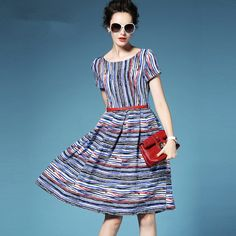 Fashion Striped Dress European Style 2016 Summer Knee-Length Pleated Dress O-Neck Medium Waist With Sashes Women Dress