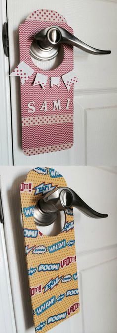 Make DIY door hangers with washi tape - a quick craft that the kids will have a blast making.