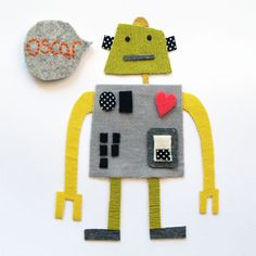 robot fabric collage, on boy woolies Handmade Baby Gifts, Personalized Baby Gifts, Handmade Cards, Collages, Fabric Animals, Art Curriculum, Textiles, Art Lessons Elementary, Arts Ed