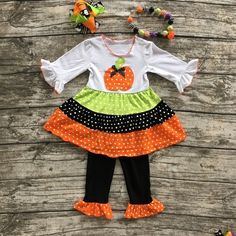 Pumpkin Outfit With Ruffle Pants with Matching Hair Bow and Necklace For Toddler and Girls