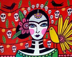 FREE SHIPPING- Mexican Folk Art Frida Kahlo Day of the Dead art Panel Poster of Painting Mounted