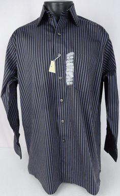 NWT MICHAEL KORS Casual Shirt Men L Brown Blue Striped Button Down LS 16.5 32/33 #MichaelKors #ButtonFront