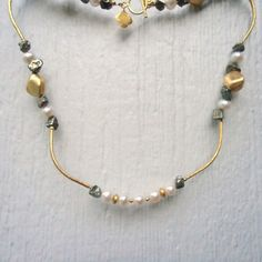 Pearl Necklace Gold Jewelry Mixed Metal by jewelrybycarmal on Etsy, $85.00