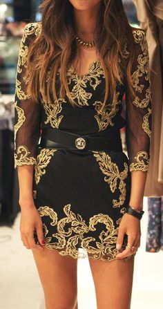 Black + Gold= One of our fave combinations, especially in a long sleeved mini dress