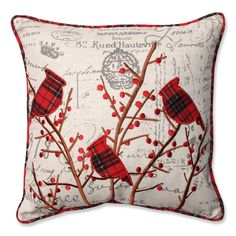 Complement your home's Christmas decor with this beautiful embroidered throw pillow.
