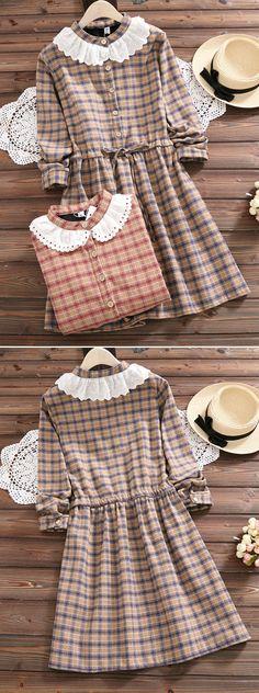 [Newchic Online Shopping] 48%OFF Women Plaid Vintage Dresses
