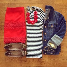 Striped Shirt, Red Lace Mini Skirt, Jean Jacket, Leopard Flats | #weekendwear #casualstyle #liketkit | www.liketk.it/19WbM | IG: @whitecoatwardrobe