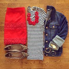 Striped Shirt, Red Lace Mini Skirt, Jean Jacket, Leopard Flats | #weekendwear #casualstyle #liketkit | www.liketk.it/19WbM | IG: @whitecoatwardrobe