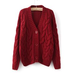 Wine Red Long Sleeve Cable Knit Cardigan ($24) ❤ liked on Polyvore featuring tops, cardigans, red, sweaters, sheinside, long sleeve cardigan, v neck cardigan, button cardigan, embellished cardigan y long sleeve v neck top