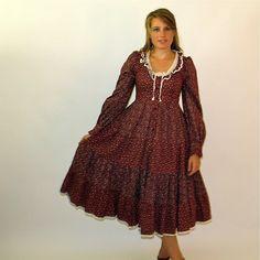 Vintage 70's Calico Gunne Sax Prairie Dress - S M