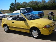 my yellow Geo Metro Counting Cars, Flying Car, Old Cars, Geo, Old Things, Garage, Yellow, Vehicles, Summer