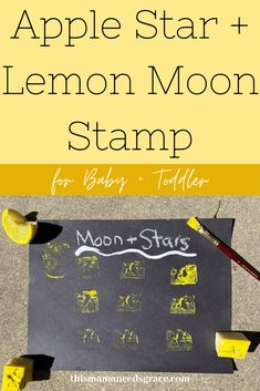 A fun hands-on craft that uses fruit to stamp stars and moons.  This is great for teaching the color yellow! #AppleStamp #LemonStamp #StarCraft #MoonCraft #SimpleToddlerCrafts