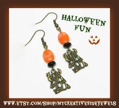 Halloween earrings.  Haunted house fun.  SHOP: https://www.etsy.com/shop/MyCreativeSideJewels