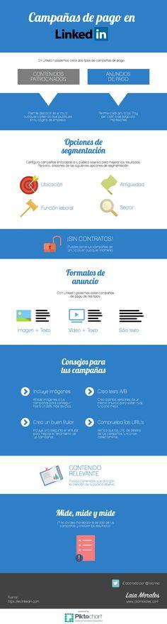 Tipos de anuncios en Linkedin. Infografía en español. #CommunityManager