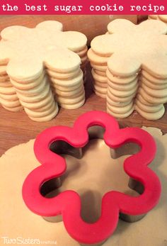 The Best Sugar Cookie Recipe - easy to make, soft, delicious and keeps the shape of the cookie cutter. For more great Cookie Recipes follow us at http://www.pinterest.com/2SistersCraft/