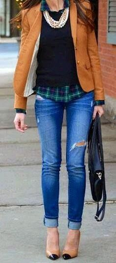 camel jacket with skinny jeans style idea